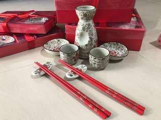 Traditional sake pottery set