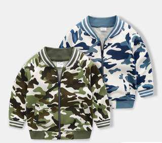 🚚 【BABYWEAR】【CLOTHING】【GIRL】【BOY】PCO0007 BABY CHILDREN BOY GIRL ARMY CAMOUFLAGE LONG SLEEVES GREEN / BLUE ZIPPER CAMO JACKET OUTWEAR