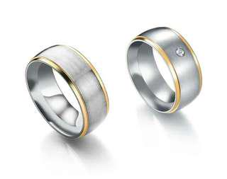 Couple ring Gold silver with free engravement