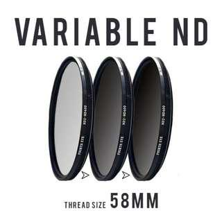 Variable ND filter 58mm (adjustable ND2 to ND400)