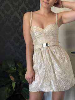 Camilla and Marc mini spaghetti strap dress - size 6 - tweed texture