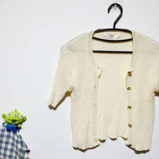 🚚 五分袖針織米白色外套