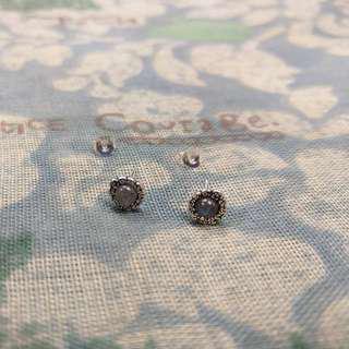 🈹925純銀復古拉長石耳環