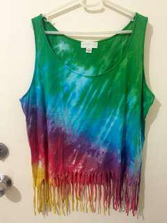 F21 tie dye fringe beach top