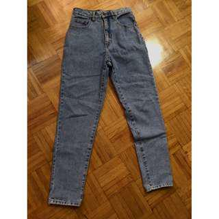 High- Waisted Vintage Wash Jeans