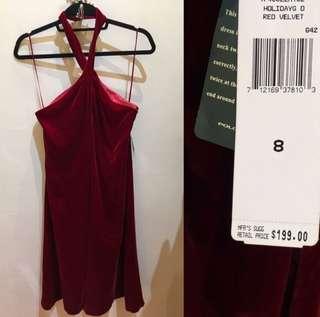 🚚 《桃園》美國 Ralph Lauren 深紅絲絨露肩洋裝 halter dress