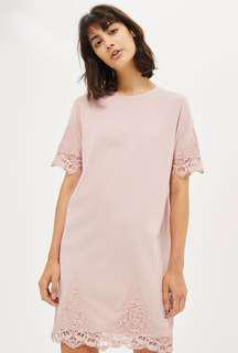 Topshop Petite Lace Petal T Shirt Dress