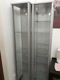 2x IKEA DETOLF Glass Display Cabinet Shelves
