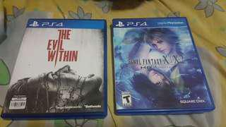 PS4 Games Final Fantasy X/X2 & The Evil Within