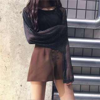 (2 Colours) Basic Ulzzang Mesh Long Sleeve Top!