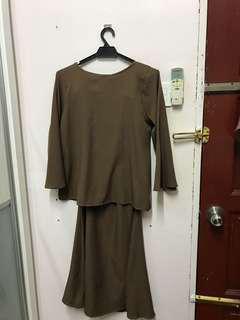 Baju Kurung Moden Brown