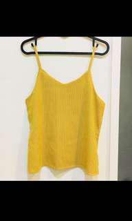 🚚 超美💛全新 條紋背心 細肩帶 不會透 黃色