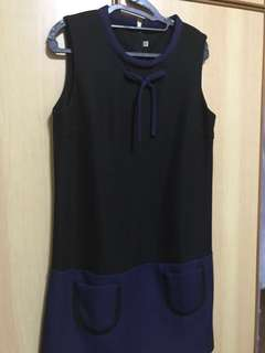 Black & Navy ribbon sleeveless dress