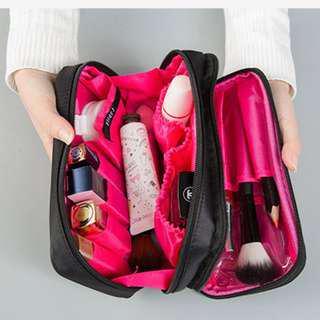 Portable Double Zip Makeup Bag Cosmetic Storage Bag B14905
