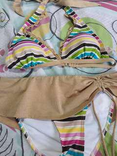 Candies Brand Two Piece Rainbow Stripes / Glittery Gold Swimsuit