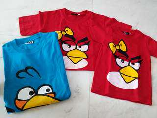 New 3pcs Family T-shirt Angry Bird