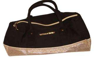 Victoria's Secret Black and Gold Glittery Hand Bag Cotton / Polyester Satchel (with slight peeling)
