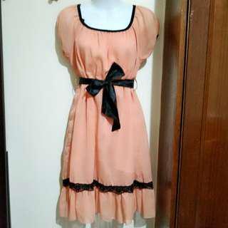 粉橘色雪紡洋裝F #免運費