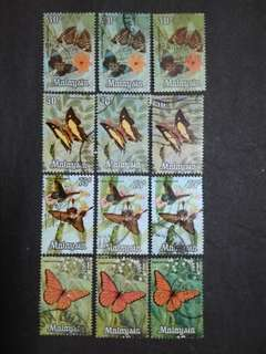 Malaysia 1970 Butterflies Different Colours Printing 30c To $1 - 12v Used Stamps