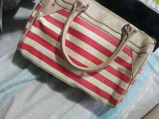 Victoria's Secret Cream / Red and White Stripes Hand Bag (Damaged)