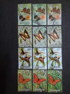 Malaysia 1970 Butterfly Different Colours Printing 30c To $1 - 12v Used Stamps