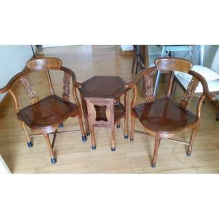Two Chinese Chairs and Side Table