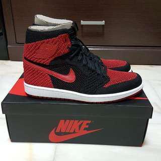Nike Air Jordan 1 Retro High Flyknit Bred Black Red
