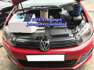 #jetexfilters_vw. #jetexfiltersasialink. Golf Mk6 1.4tsi single turbo in the house to replace jetex high flow performance drop in air filter with 1.14 kpa flow rate washable Filter.