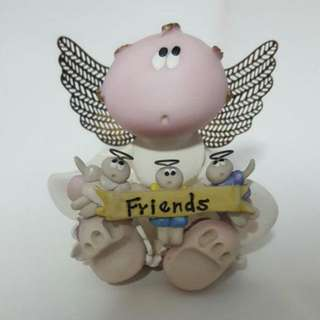 Russ Angel Cheeks Carrying Banner With Word Friends Ornament Display Figurine