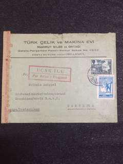 WW2 Turkey 1944 Censor Cover to Germany, Red OKW (g) Swastika Censor Mark