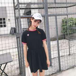 •PO• Black Heart Babydoll Dress