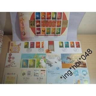 香港首日封7款 兔年 傲虎巧兔 十二生肖郵票小型張 等等 $499 郵寄交收