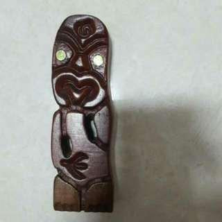 Maori New Zealand Wooden Ornament Display