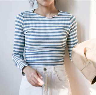 long sleeved blue striped crop top