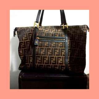REPRICED!!! Fendi Monogram Logo Large Carryall Travel Weekender Shoulder Tote Bag
