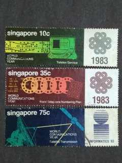 Singapore 1983 World Communications Year Loose Set Short Of $1 - 3v Used Stamps