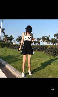 🚚 高腰連身運動風洋裝