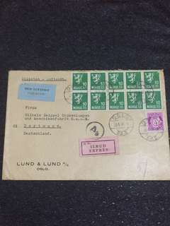 WW2 Norway 1944 Express Airmail Cover to Germany, No Censor Marks or Tapes