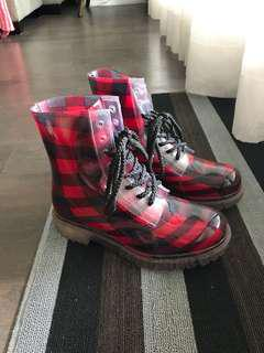Checkered Rubber Boots