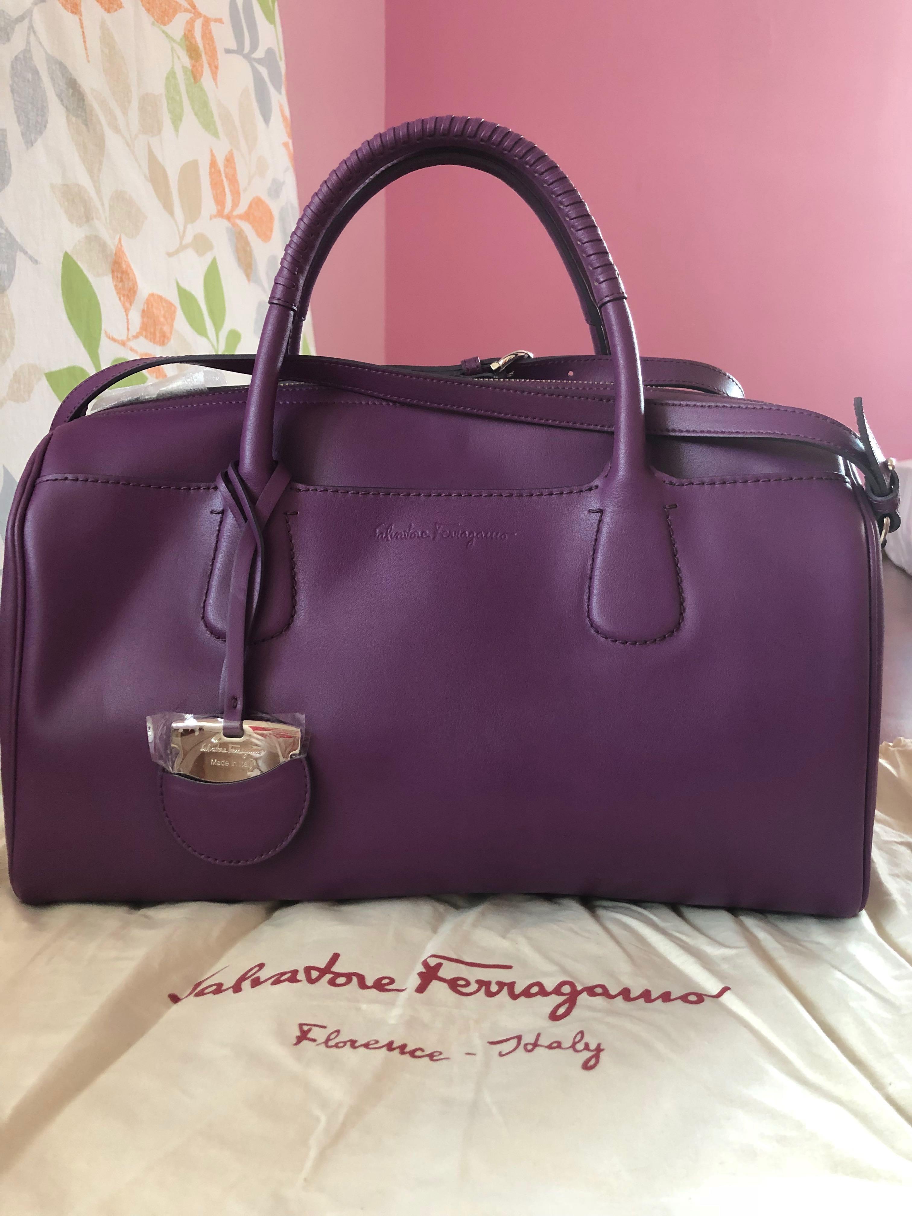 cd18835d7068 BN Salvatore Ferragamo Grape Purple Luggage hand Sling bag  Save 70%