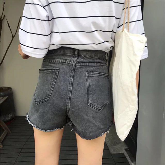 灰色刷破顯瘦高腰牛仔短褲韓版