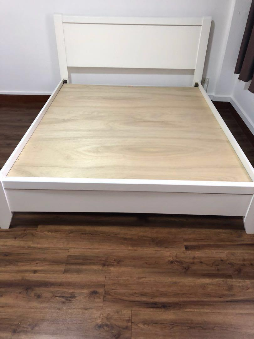 Picture of: Almost New Ikea Queen White Wooden Bed Frame Only Furniture Beds Mattresses On Carousell