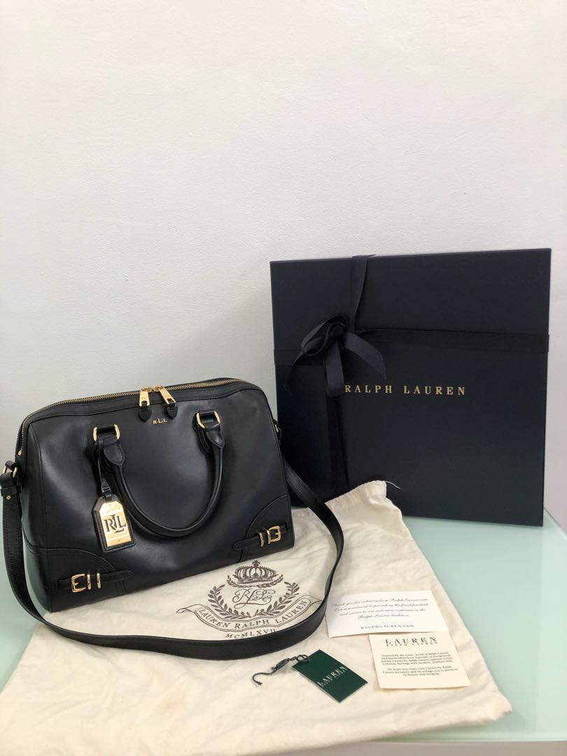 Authentic Lauren Ralph Lauren Black Leather Satchel Bag, Women s ... 10234f0e7e