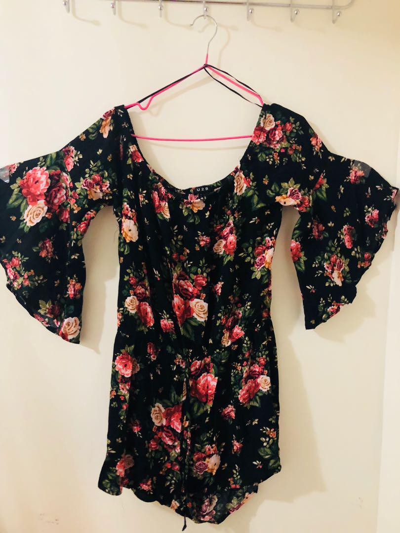 Black and pink floral scoop-neck dress