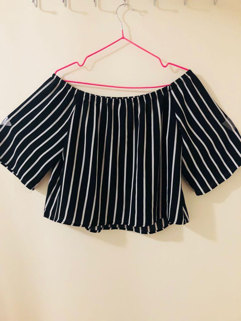 Black and white stripe off shoulder shirt