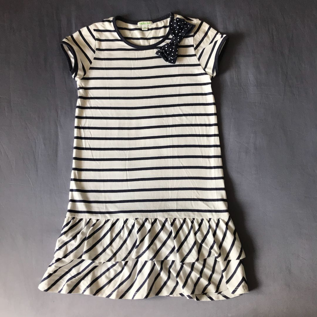 03c2c9563 Bossini Girl Navy Blue and White Striped Dress