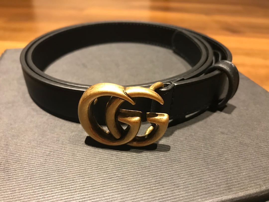 c28b78fad7a Brand New Gucci GG Marmont Skinny Belt in Black GHW size 80mm ...
