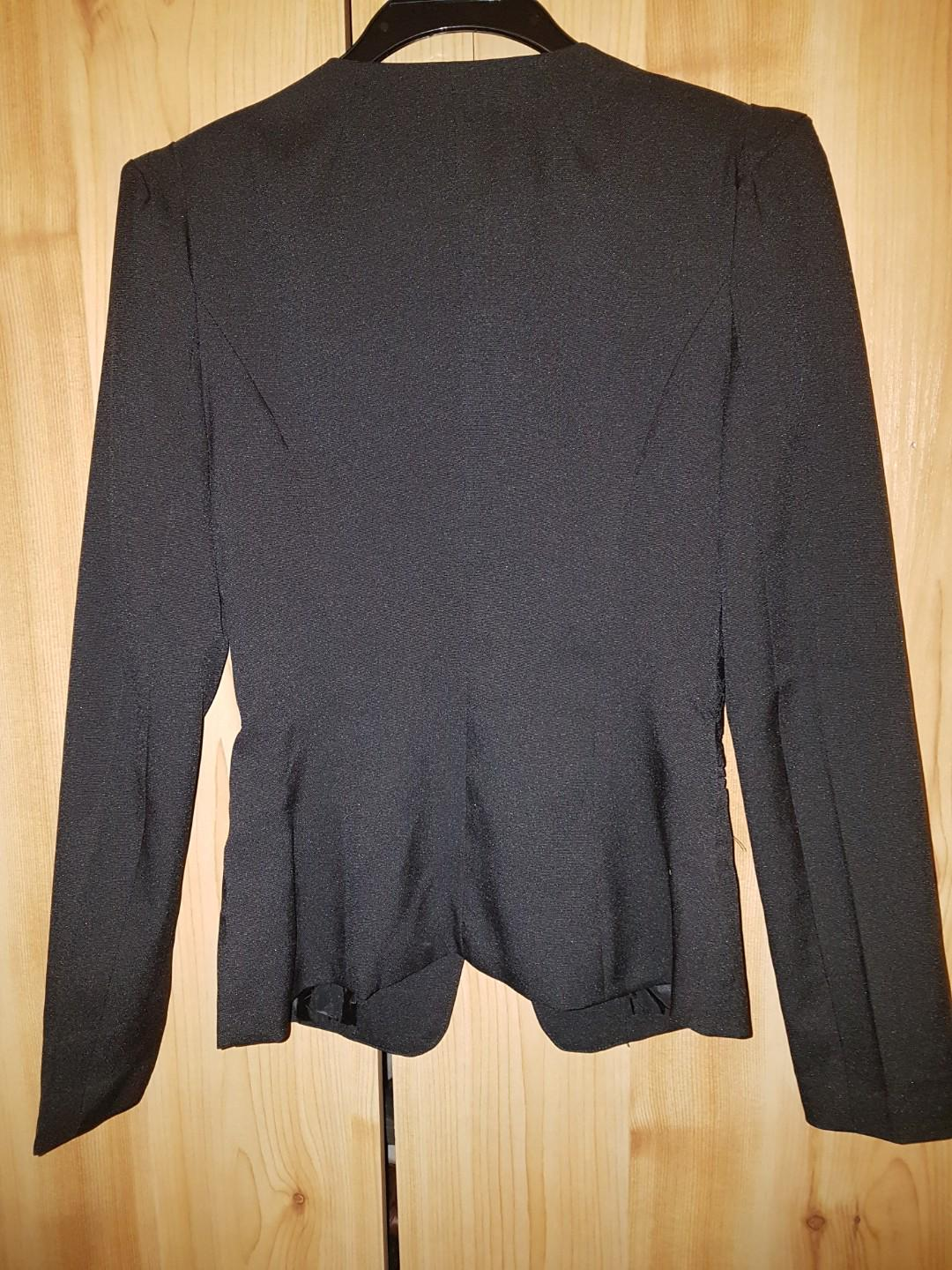 Designer embroidered blazer black