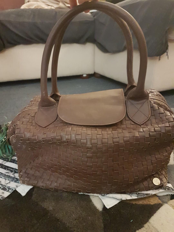 Leather weaved vintage handbag