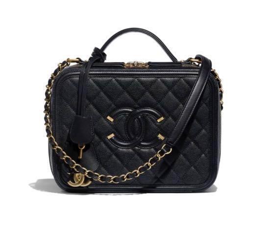 667ec1023090 Medium Chanel Filigree Vanity Case Bag Black BNIB